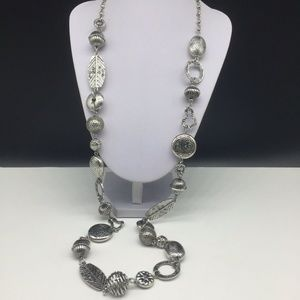 Chico's Silver Tone Chunky Beaded Long Necklace